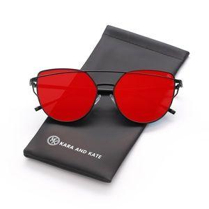 Red On Black Mirrored Sunglasses, Aviator Sunnies